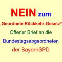 """NEIN zum """"Geordnete-Rückkehr-Gesetz"""" - Offener Brief an SPD-Landesgruppe"""